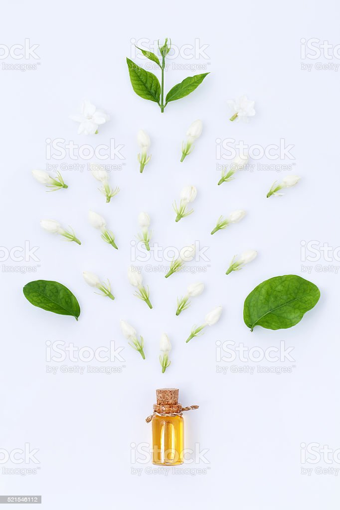essential aroma oil with jasmine on white background stock photo