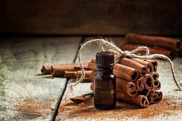 essential olio alla cannella in una piccola bottiglia - oli, aromi e spezie foto e immagini stock
