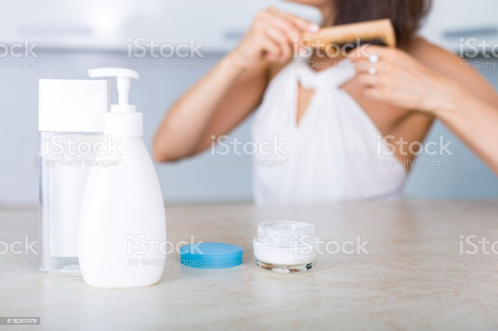 Essential cosmetics on a table stock photo