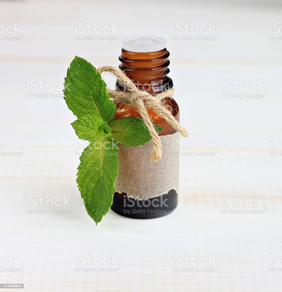 Essential mint oil. stock photo