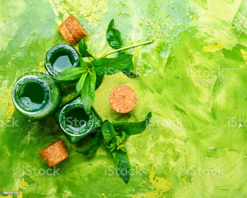Essential mint oil with green leaves royalty-free stock photo