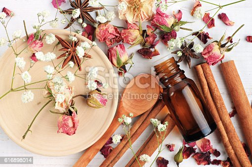 istock Essential oil blend of rose, cinnamon, anise 616898014