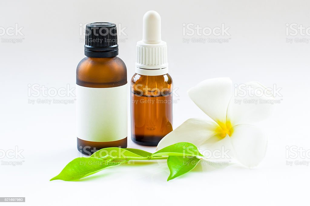 Essential oil bottles. Cosmetic dropper-bottle. Label, sticker template. stock photo