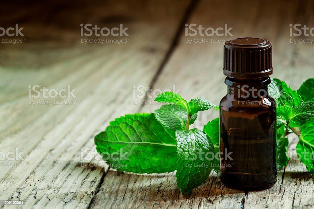 Aceite esencial de menta piperina en una pequeña botella de marrón - foto de stock