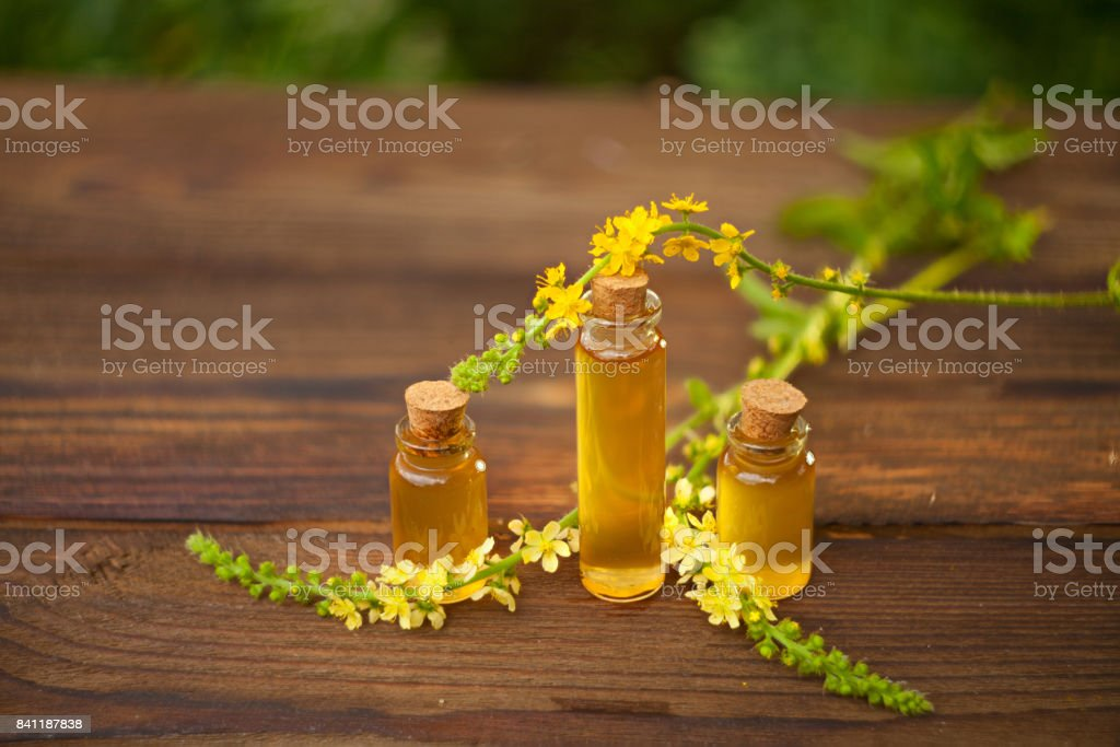 essential oil on table in beautiful bottle with flowers stock photo
