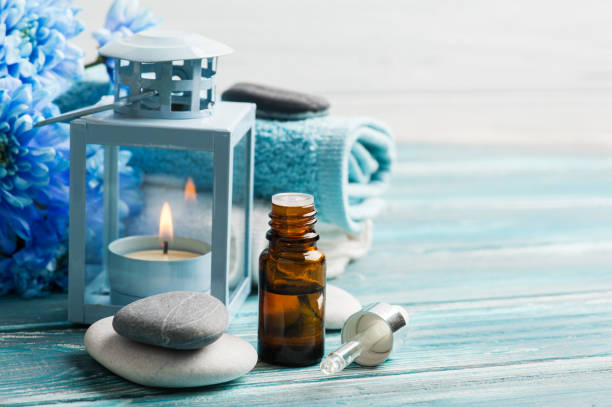 Essential oil spa treatment stock photo