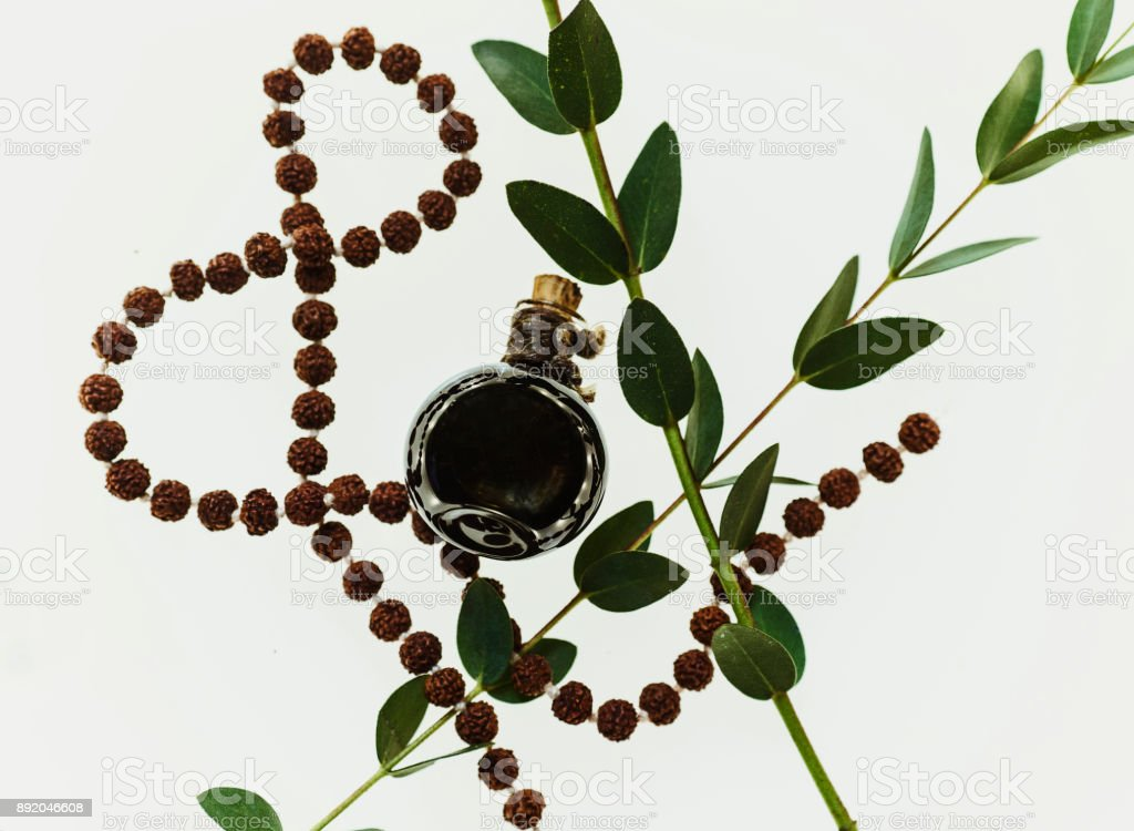Essential Oil with leaves and balls stock photo