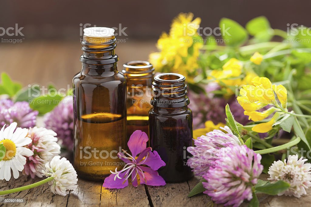 essential oils and medical flowers herbs stock photo