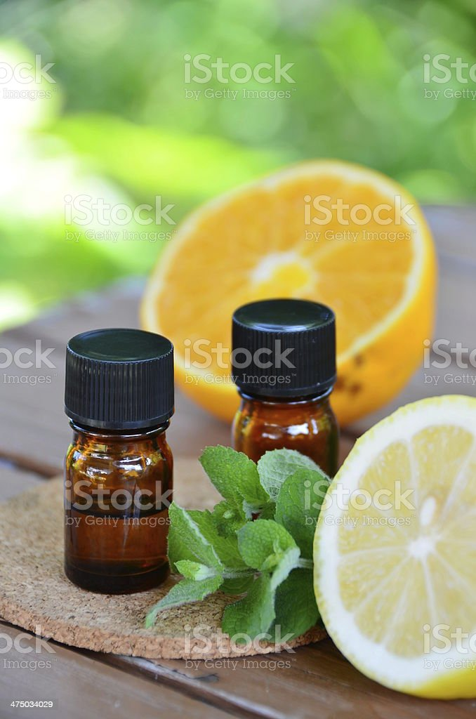 essential oils with fruits stock photo