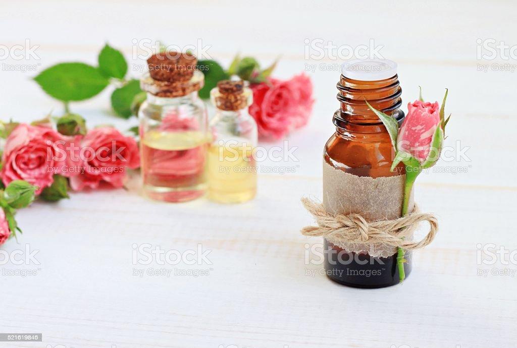 Essential rose oil stock photo