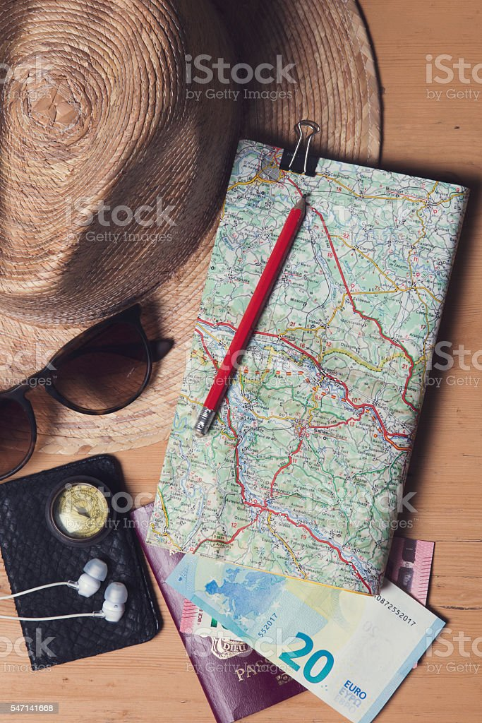 Essential travel  items background stock photo