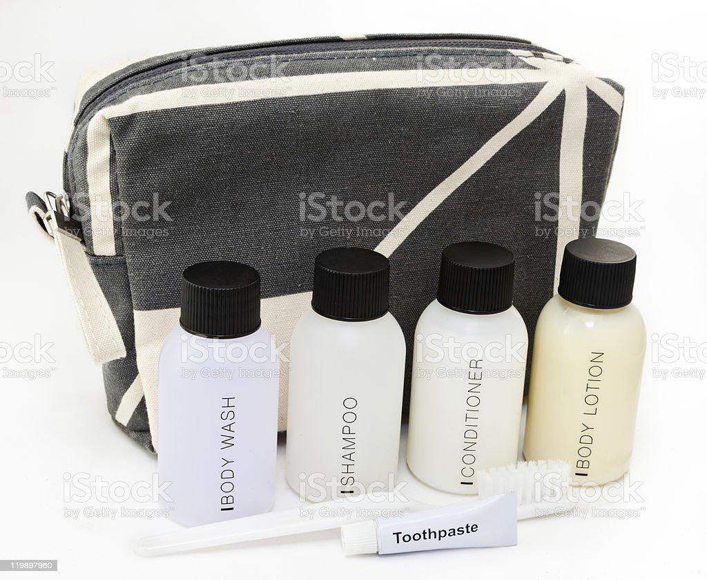 Essential travel toiletries royalty-free stock photo