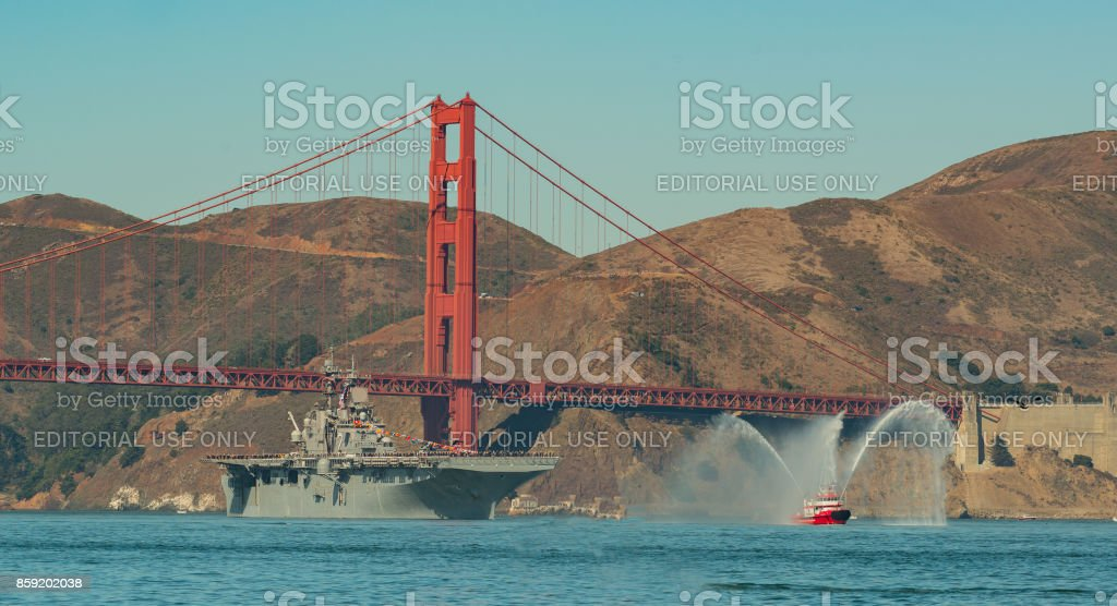 USS Essex and SF Fire Boat entering San Francisco Ca. bay for Fleet Week Oct, 6 2017 stock photo