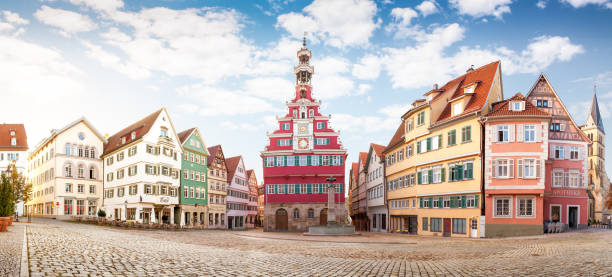 Esslingen Germany medieval tourist town with scenic view of famous historical landmark  town hall stock photo