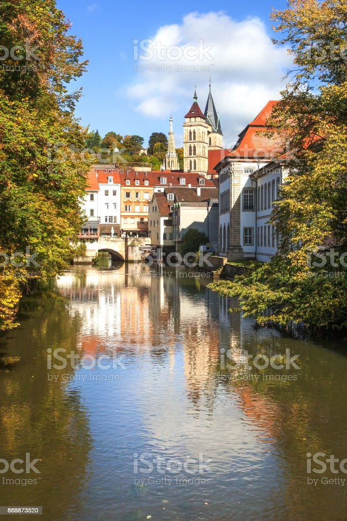 Esslingen Germany scenic view of town center with Innere Brücke and Stadtkirche stock photo