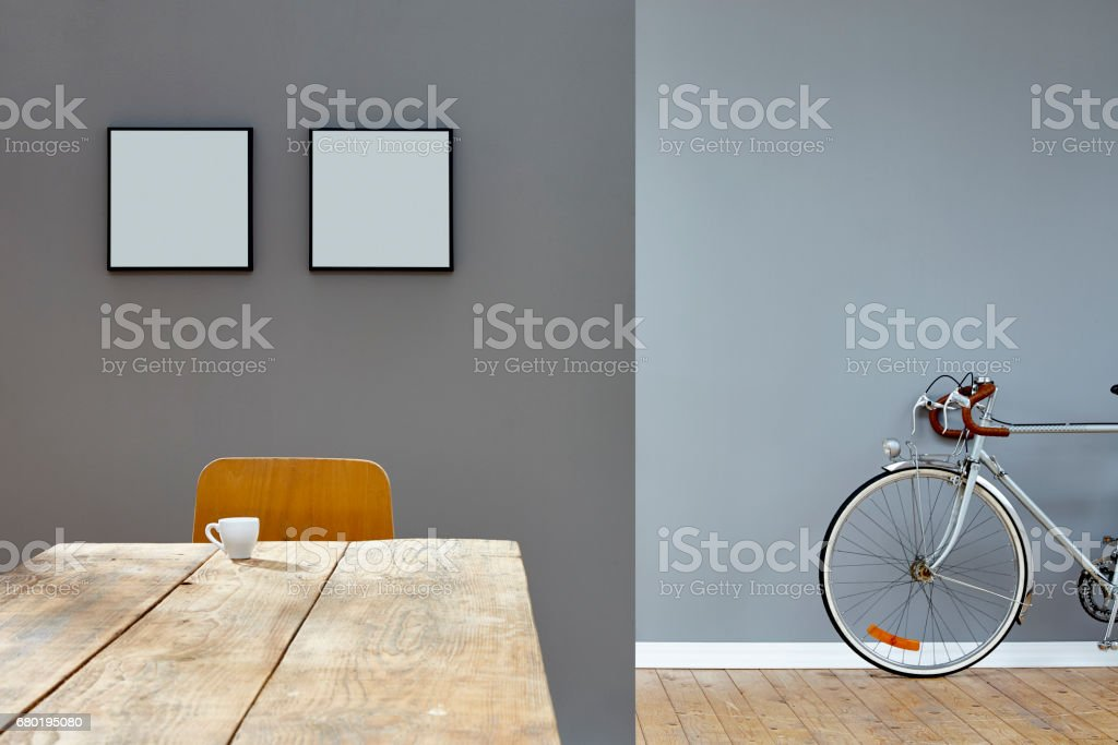 Esspresso Scene On Wooden Table In Reduced Vintage Loft With Bike ...