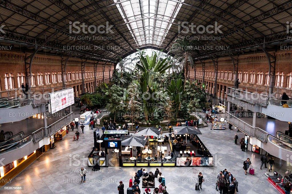 estacion de atocha station madrid interior hall - foto de stock