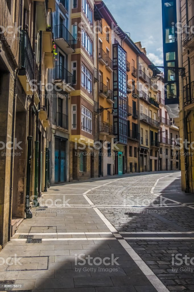 Estafeta Street, Pamplona (Iruña), the historical capitalof Navarre, Spain, Famous for the running of the bulls during the San Fermin festival brought to literary renown by Ernest Hemingway's novel The Sun Also Rises. stock photo
