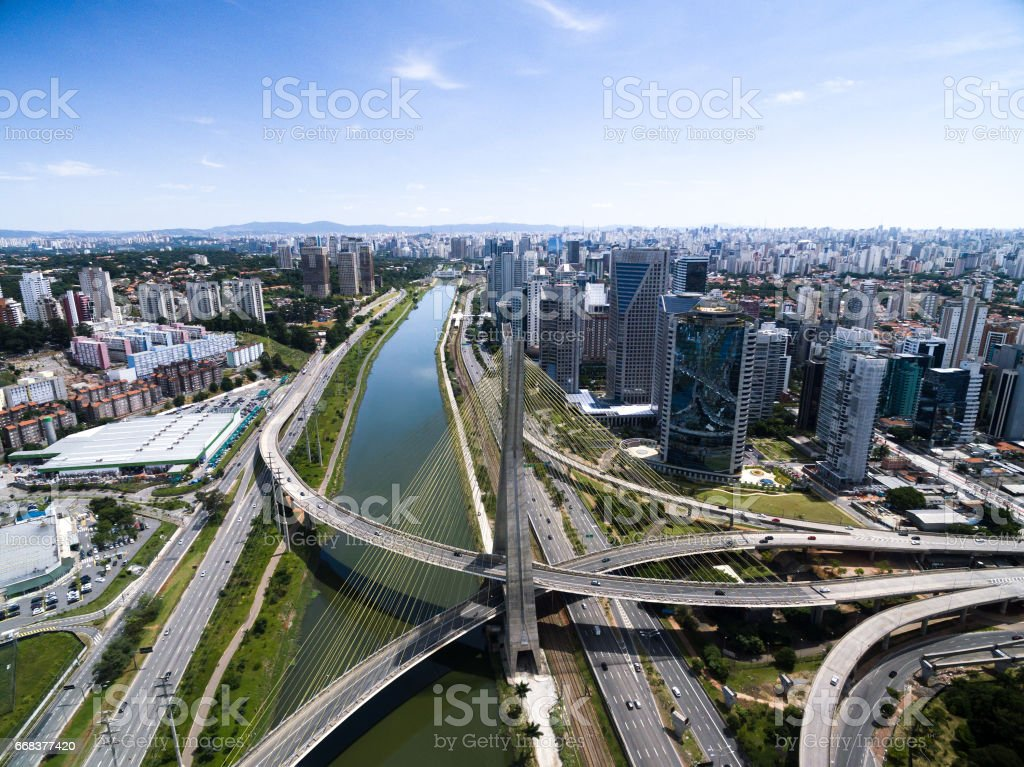 Estaiada Bridge and Skyscrapers in Sao Paulo, Brazil stock photo