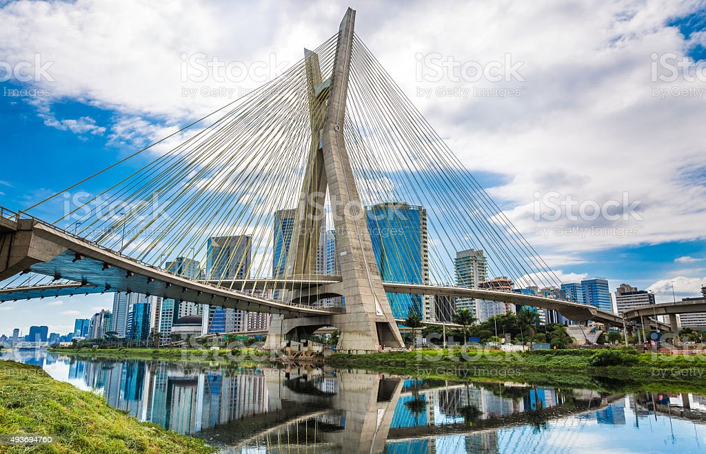 Estaiada Bridge in Sao Paulo, Brazil stock photo
