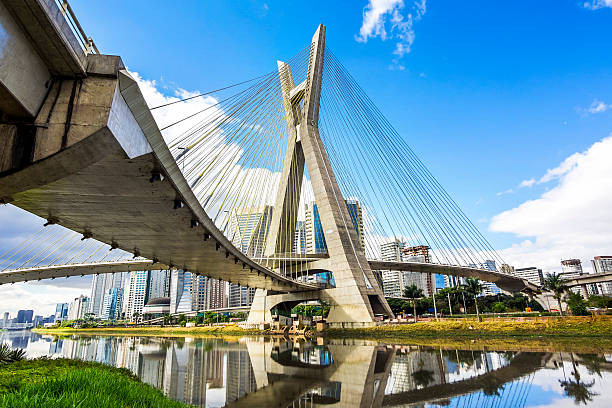 Estaiada Bridge Octavio Frias de Oliveira in Sao Paulo, Brazil stock photo