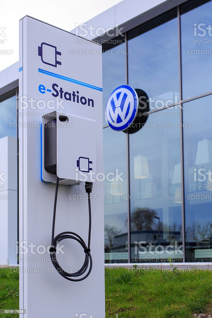 e-Staion at Volkswagen stock photo