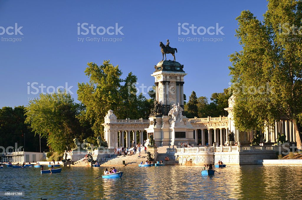 Estanque Grande in Retiro Park the biggest park, Madrid, Spain stock photo