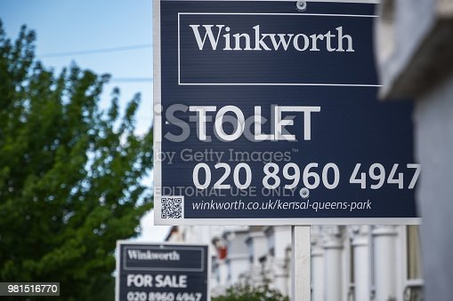 626187670istockphoto Estate agent signs advertising home for rent or sale around Kensal Rise area in London 981516770