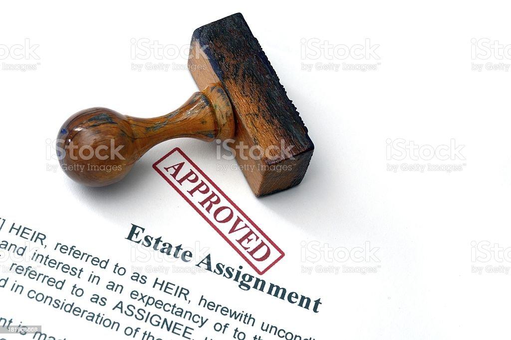 Estate assignment stock photo