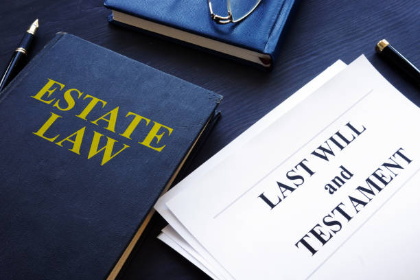 Estate law, last will and testament in a court. stock photo