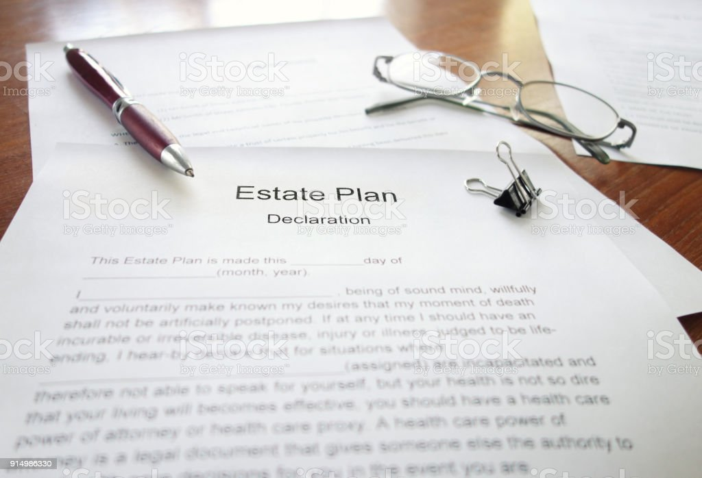 Estate Plan document stock photo