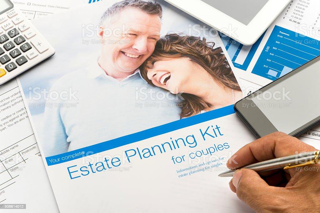 Estate planning document stock photo