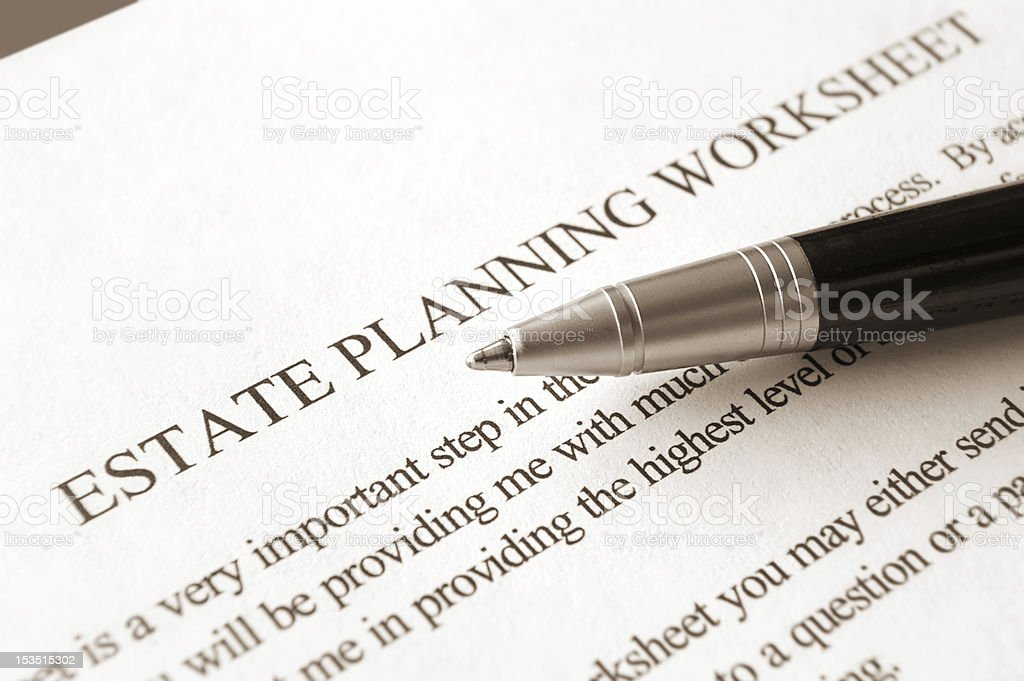 Estate Planning Worksheet stock photo