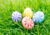 Easter eggs in the grass. Easter holiday.