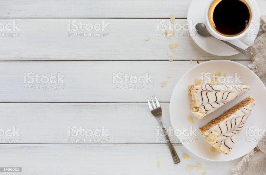 Esterhazy cake sliced on white plate