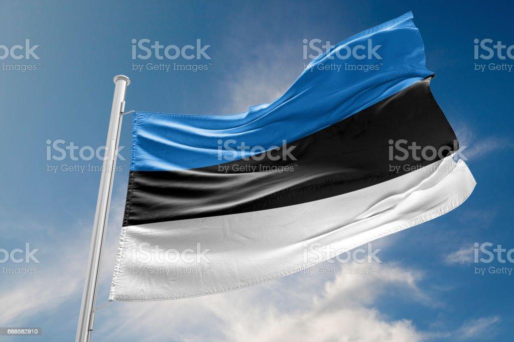 Estonia Flag is Waving Against Blue Sky stock photo