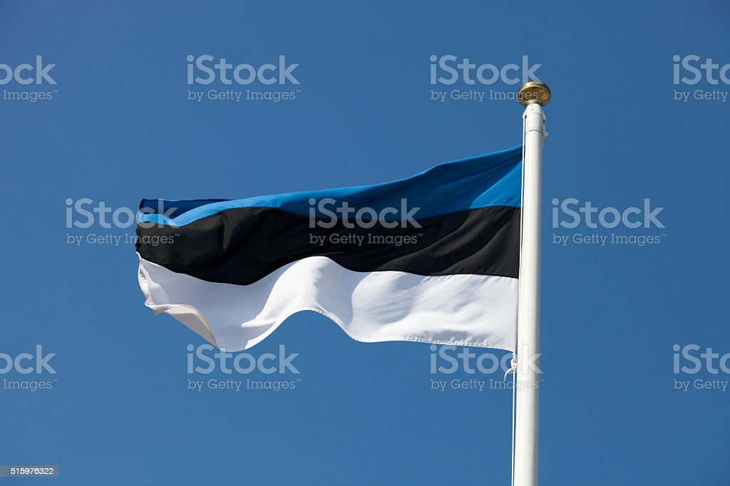 Estonia flag on blue sky stock photo