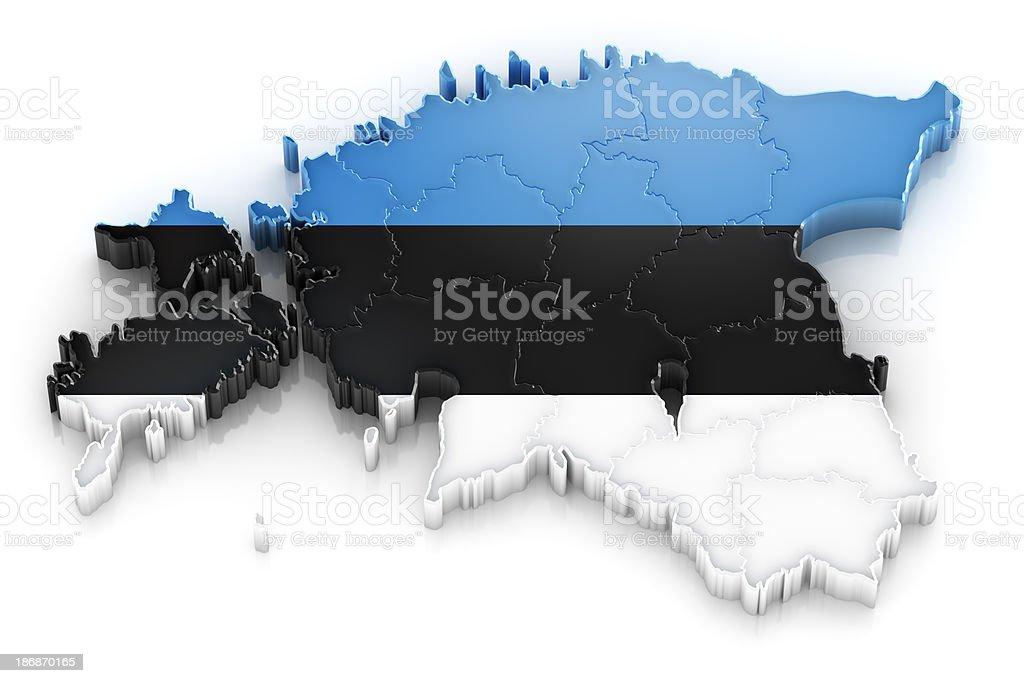Estonia map with flag stock photo