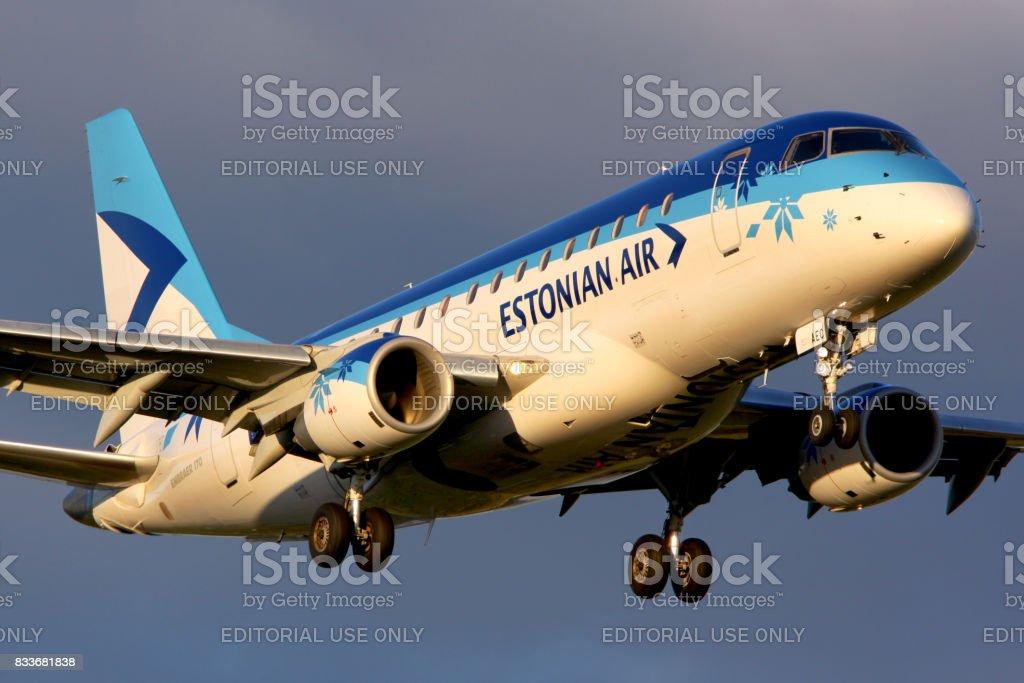 Estonian Air Embraer ERJ-170STD landing at Sheremetyevo international airport. stock photo