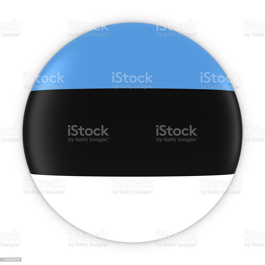 Estonian Flag Button - Flag of Estonia Badge 3D Illustration stock photo