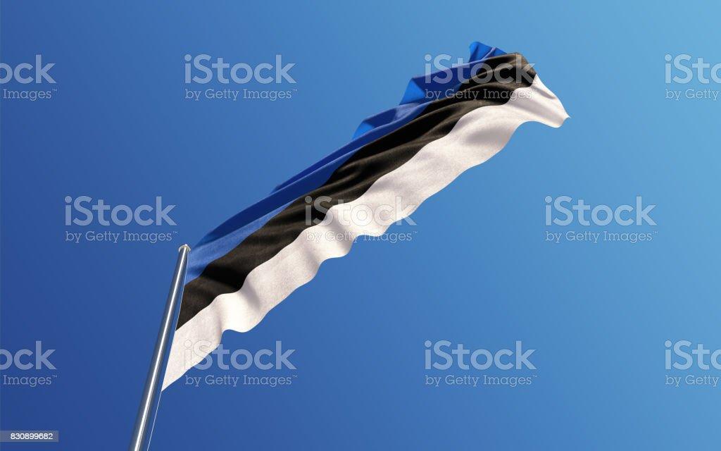 Estonian Flag Waving With Wind On Blue Sky stock photo