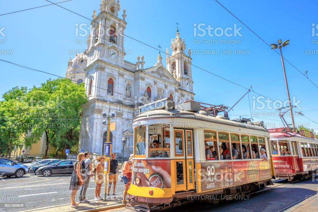 Estrela Basilica and Tram 28 stock photo