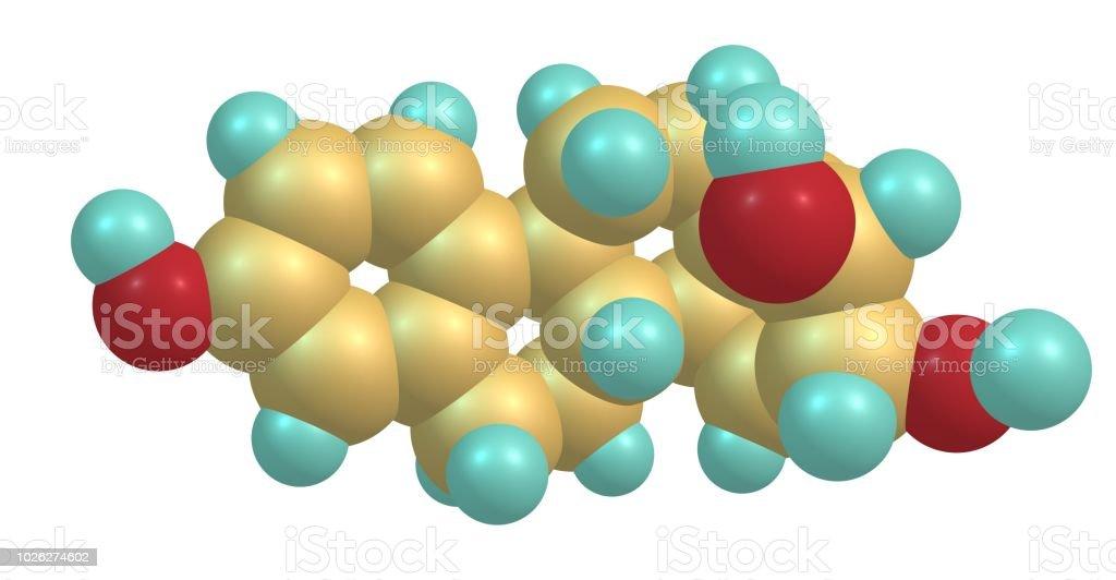 Estructura molecular de estriol aislado en blanco - foto de stock