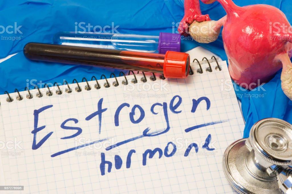 Hormona estrógeno o la enzima como principales hormonas sexuales femeninas concepto de diagnóstico de medición. Útero con los ovarios, que produce esta hormona, junto al laboratorio test tubes de sangre y nota con estrógenos de texto - foto de stock