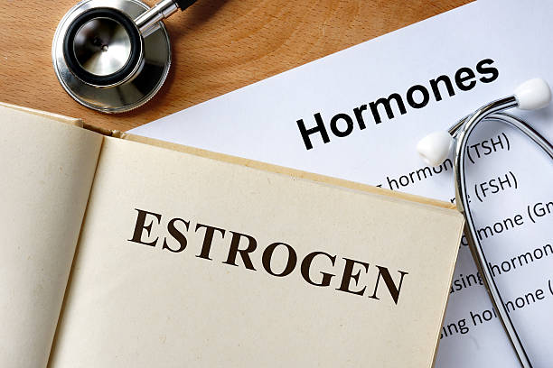Estrogen word written on the book and hormones list. stock photo