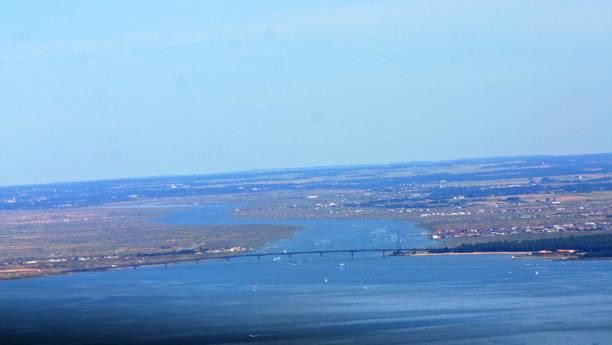 Estuaire de la Charente d'avion stock photo