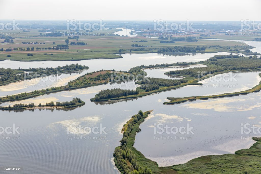 Estuary of Dutch river IJssel with small islands and wetlands stock photo