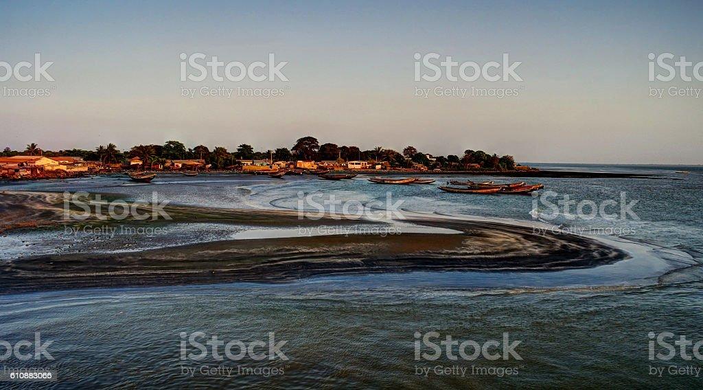Estuary of Gambia river stock photo