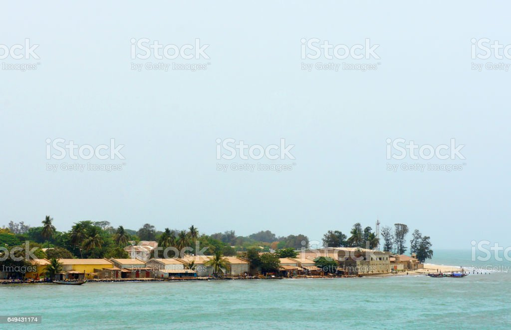 Estuary of Gambia river, view from ferry stock photo