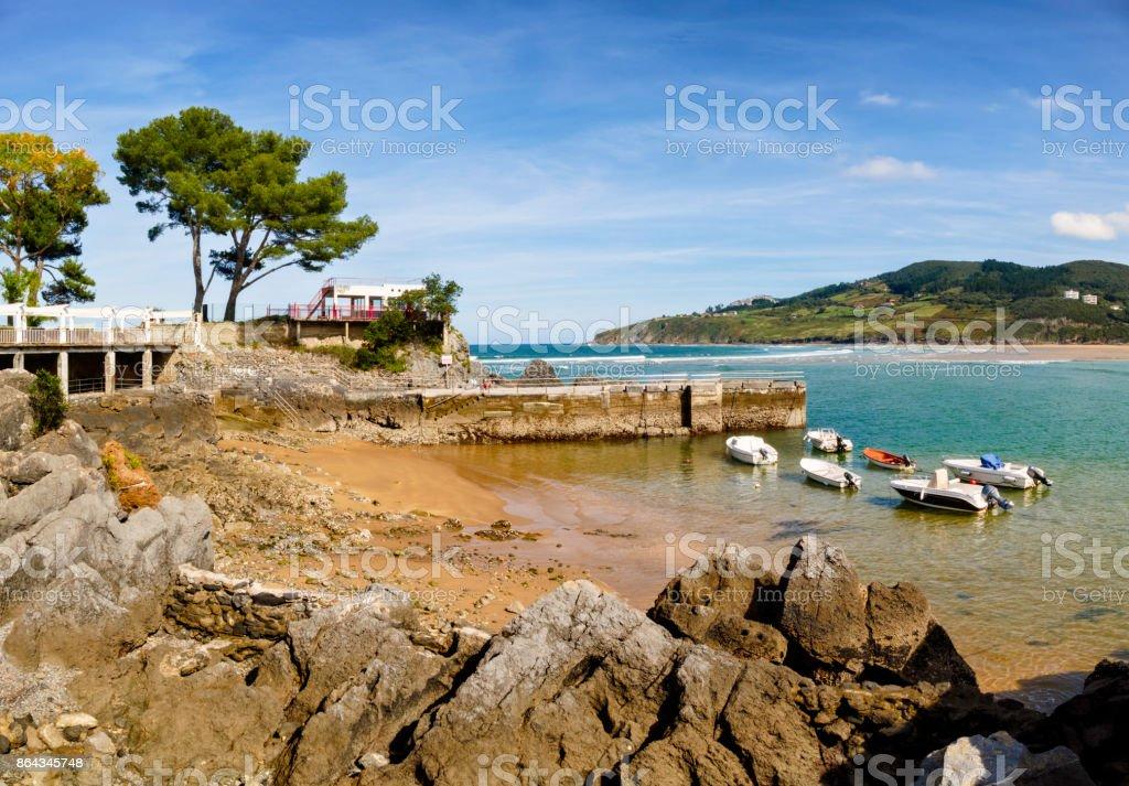 Estuary of Oka River. Mundaka and Hondartza beach. Basque Country, Vizcayne Province, Spain stock photo